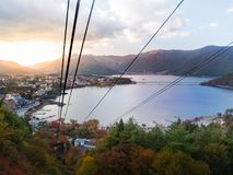 Lake Kawaguchi. View from Tenjo-Yama Park at Mount Kachi Kachi Ropeway stock photo
