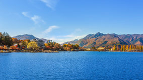 Lake Kawaguchiko  in Autumn Stock Photo