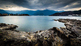 Lake Kawaguchiko. In a cloudy day Royalty Free Stock Photography