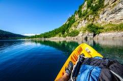 Lake from kayak Stock Photo