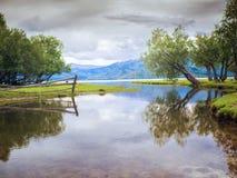 Lake in Kazakhstan. Cloudy summer day at the lake in Kazakhstan Stock Photo