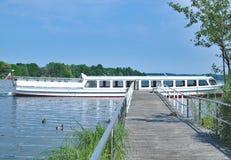 Lake Kellersee near Eutin,holstein Switzerland,Germany. Tourist Boat at Lake Kellersee near Malente and Eutin in holstein Switzerland,Schleswig-Holstein,Germany Stock Photo