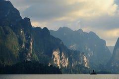 Lake Khao Sok. National Park of Thailand Khao Sok in the winter Royalty Free Stock Photo