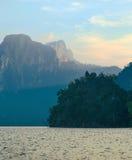 Lake Khao Sok. National Park of Thailand Khao Sok in the winter Stock Photo