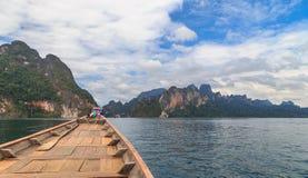 Lake Khao Sok rock. Beautiful mountains lake river sky and natural attractions in Ratchaprapha Dam at Khao Sok National Park, Surat Thani Province, Thailand Stock Photos