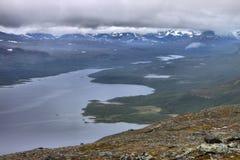Lake Kilpisjarvi from Saana fell Stock Photos