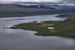 Lake Kilpisjarvi from Saana fell Royalty Free Stock Images