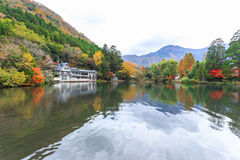 Lake Kinrinko in Yufuin, Kyushu, Japan. Yufuin is a popular Onsen resort in Kyushu, Japan. Lake Kinrinko is another natural landmark of Yufuin besides Yufu Stock Photos