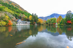 Lake Kinrinko in Yufuin, Kyushu, Japan. Yufuin is a popular Onsen resort in Kyushu, Japan. Lake Kinrinko is another natural landmark of Yufuin besides Yufu Stock Image