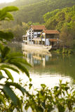 Lake of the kiosk. Small Open Pavilion At The Beautiful Lake Stock Photo