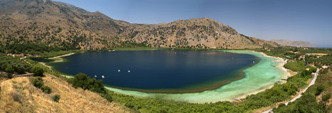 Lake Kourna panorama. Royalty Free Stock Photography