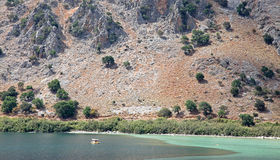 Lake Kournas at island Crete Stock Photos