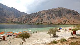 Lake Kournas at island Crete Royalty Free Stock Photos