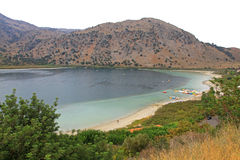 Lake Kournas at island Crete Royalty Free Stock Photography