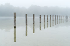The Lake Kuhsee at Fog in Augsburg Royalty Free Stock Images