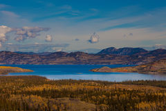 Lake Laberge and surrounding taiga in fall Royalty Free Stock Images