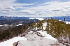 Lake Laberge taiga hill frozen spring Yukon Canada Stock Photo