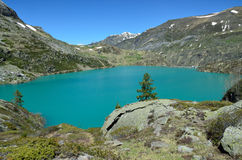 Lake lac des Gloriettes in the French Pyrenees Stock Photos