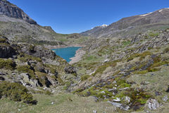 Lake lac des Gloriettes in the French Pyrenees Royalty Free Stock Photo