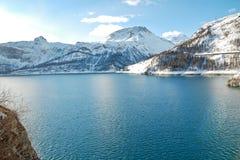Lake Lac du Chevril in de winter, Frankrijk Royalty-vrije Stock Fotografie