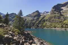 Lake Lac du Lauvitel at summer time. Lake in south of France `Lac du Lauvitel` at day, summer time stock photos
