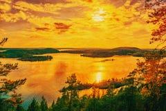 Lake Ladoga- digital stylization painting techniques. Landscape- sunset on lake Ladoga. Oil painting on canvas stock photography