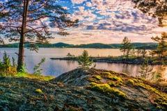 Lake Ladoga- digital stylization painting techniques. Landscape- sunset on lake Ladoga. Oil painting on canvas royalty free stock photos