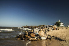 On Lake Ladoga. Impeccably cloudless day on the beach of Lake Ladoga Stock Photo