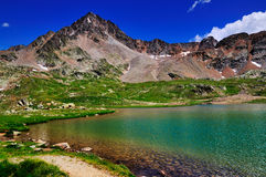 Lago Bianco, Gavia, Italy. The lake Lago Bianco near the top of the famous Gavia high mountain pass in Italy Stock Image