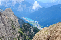 Lake Lago di Auronzo and Sexten Dolomites mountains in South Tyrol Royalty Free Stock Images