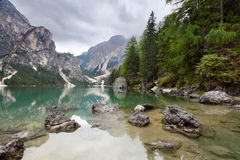 Lake - Lago di Braies in Dolomiti Mountains Royalty Free Stock Photos