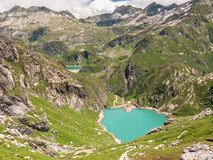 Lake Lago di Robiei and the dam Royalty Free Stock Photography