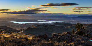 Lake Lahontan and Silver Springs Sunrise Stock Photo