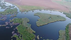 Lake and land seen from drone. Water and land seen from above stock video footage