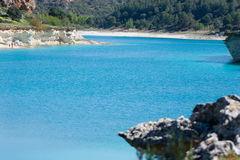 Lake landscape. Turquoise blue lake in Ruidera, Spain stock images