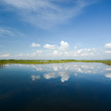Lake landscape with blue sky reflection Royalty Free Stock Photo