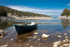 Lake landscape with boat. Royalty Free Stock Photography