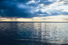 Lake landscape with cloud reflections Royalty Free Stock Photo