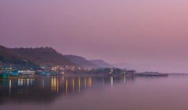 Lake landscape at dusk, Ubonratana Dam, Thailand Stock Images