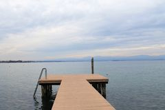 Lake. Landscape of  Garda lake in northern Italy in winter Royalty Free Stock Photos