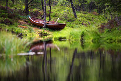 Lake landscape with green forest in Norway Stock Photography