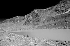 Lake Landscape In Infrared. Mountain alpine Lake Landscape In Infrared B&W Royalty Free Stock Photography