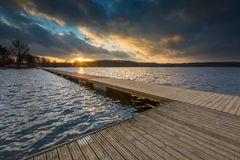 Lake landscape with jetty Royalty Free Stock Photo