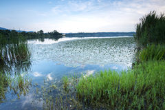 Lake landscape long exposure at dusk Stock Photography