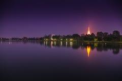 Lake landscape at night. Stock Image