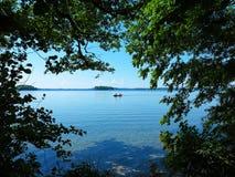 Lake landscape and paddle boat Stock Photo