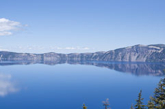 Lake landscape reflected in blue water Royalty Free Stock Images