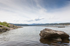 Lake Landscape with Rock Royalty Free Stock Images