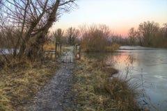 Lake landscape at sunset Stock Image