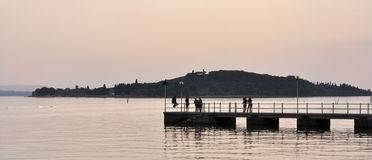 Lake landscape at sunset Royalty Free Stock Images
